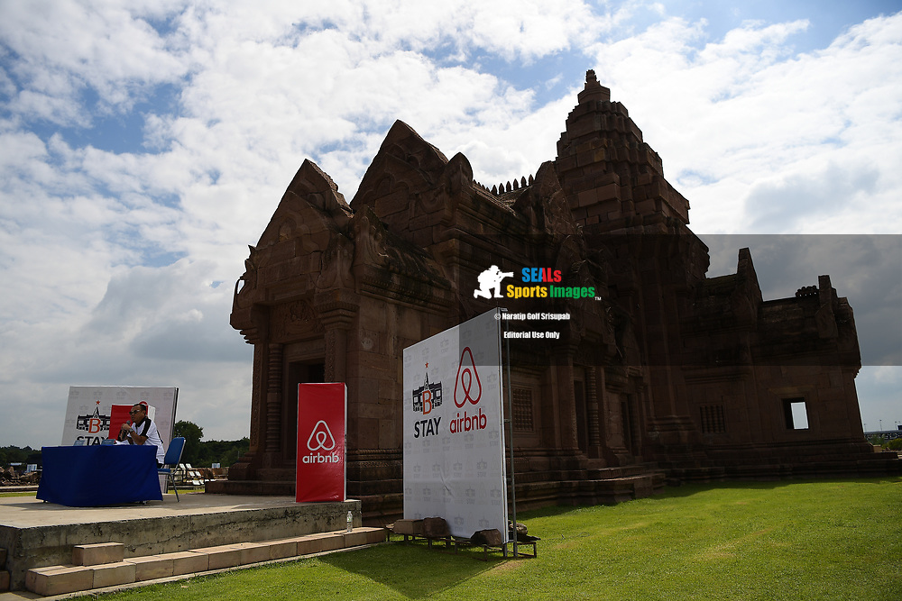 BURIRAM, THAILAND - OCTOBER 04: Mr. Newin Chidchob (R) Chairman of the Board of Siva Bana Company Ltd., which manages B-STAY speaking during the partnership signing at the Pre-Event of the MotoGP PTT Thailand Grand Prix 2018, Chang International Circuit, Buriram, Thailand on October 04, 2018. <br /> .<br /> .<br /> .<br /> (Photo by: Naratip Golf Srisupab/SEALs Sports Images)<br /> .<br /> Any image use must include a mandatory credit line adjacent to the content which should read: Naratip Golf Srisupab/SEALs Sports Images