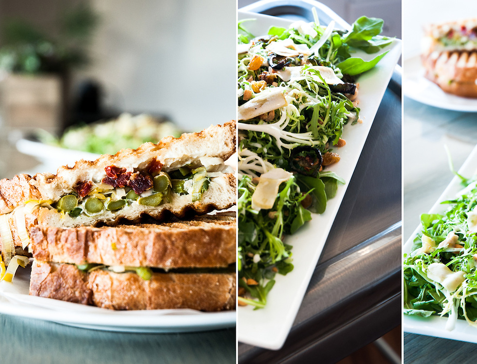 Triptych of Sandwich and Salads.