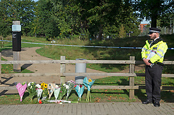 © Licensed to London News Pictures 21/09/2021. <br /> Kidbrooke, UK, Flowers at the scene. A large police cordon is still in place around Cator Park at Kidbrooke Village in Kidbrooke, South East London today after the body of 28 year old school teacher Sabina Nessa was found near a community centre. Police believe Sabina was murdered by a stranger. Photo credit:Grant Falvey/LNP