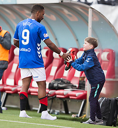 Rangers' Jermain Defoe gives his boots to fan during the Scottish Premiership match at the Superseal Stadium, Hamilton.