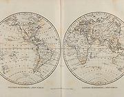 Eastern and Western Hemisphere Copperplate engraving From the Encyclopaedia Londinensis or, Universal dictionary of arts, sciences, and literature; Volume VIII;  Edited by Wilkes, John. Published in London in 1810.