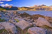 Alaska, Haines, Lutak Inlet, Rock, Landscape, Sunset