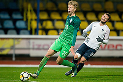 Ziga Lipuscek of Slovenia during football match between National teams of Slovenia and France in UEFA European Under-21 Championship Qualification, on November 13, 2017 in Domzale, Slovenia. Photo by Vid Ponikvar / Sportida