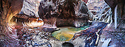 """200º panorama view of """"The Subway"""", Left Fork of North Creek, in winter. Zion National Park, Utah."""