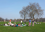 © Licensed to London News Pictures. 24/03/2012. London, UK. People enjoy the warm sunshine today 24 March 2012 in Hyde Park Central London . Photo credit : Stephen SImpson/LNP