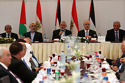 October 3, 2017 - Gaza, gaza strip, Palestine - Hamas Chief Ismail Haniyeh speaks as he sits next to Palestinian Prime Minister Rami Hamdallah during the meeting in Gaza City, October 3, 2017. (Credit Image: © Majdi Fathi/NurPhoto via ZUMA Press)