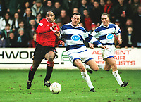 Paul Ince (United) David Bardsley and Ian Holloway. Queens Park Rangers v Manchester United 05/02/ 1994  Colorsport