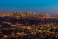 Downtown Los Angeles skyline at twilight, California USA.