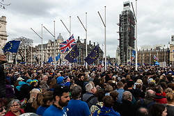 March 23, 2019 - London, England, United Kingdom - Demonstrators seen gathered to listen to speeches during the protest..Over one million protesters gathered at the People's Rally in London demanding a second vote in the referendum on Brexit. (Credit Image: © Zuzanna Rabikowska/SOPA Images via ZUMA Wire)