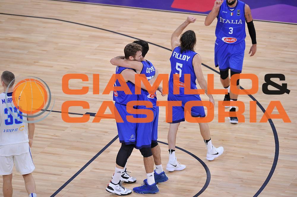 Niccolo Melli, Luigi Datome, Ariel Filloy<br /> Nazionale Italiana Maschile Senior<br /> Eurobasket 2017 - Final Phase - Round of 16<br /> Finlandia Italia Finland Italy<br /> FIP 2017<br /> Istanbul, 09/09/2017<br /> Foto GiulioCiamillo / Ciamillo - Castoria