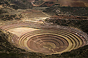 The Inca agricultural terraces of Moray, Urubamba Valley, Peru on September 22, 2005. The site is believed to have been used for experimental agriculture, self irrigating and recessed for artificially warmer and wetter conditions.