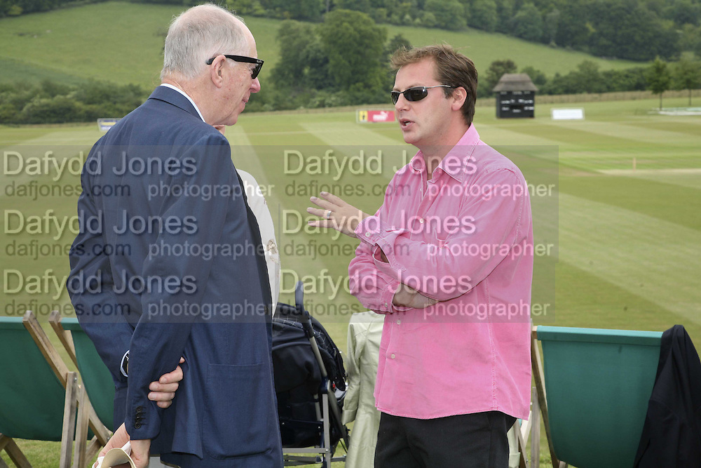 LORD JACOB ROTHSCHILD AND MATTHEW FREUD, Guy Leymarie and Tara Getty host The De Beers Cricket Match. The Lashings Team versus the Old English team. Wormsley. ONE TIME USE ONLY - DO NOT ARCHIVE  © Copyright Photograph by Dafydd Jones 66 Stockwell Park Rd. London SW9 0DA Tel 020 7733 0108 www.dafjones.com