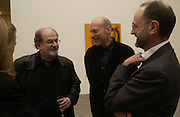 SALMAN RUSHDIE, BILL KATZ AND MARK FRANCIS. SELF PORTRAITS BY Francesco Clemente. Gagosian Gallery. Britannia St. Kings X. London.  7 December  2005.ONE TIME USE ONLY - DO NOT ARCHIVE  © Copyright Photograph by Dafydd Jones 66 Stockwell Park Rd. London SW9 0DA Tel 020 7733 0108 www.dafjones.com