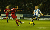 Photo: Aidan Ellis.<br /> Sheffield Wednesday v Cardiff City. Coca Cola Championship. 25/11/2006.<br /> Cardiff's Michael Chopra (L) has the best effort of the game blocked by Wednesday's Lee Bullen