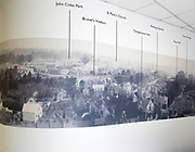 Historic panoramic photograph of local landmarks in town centre, with permission of Chippenham museum, Wiltshire, England, UK