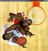 ATLANTA, GA 4/2/07-Florida's Chris Richard, left, puts a shot up over Ohio State's Greg Oden during the NCAA Championship game at the Georgia Dome...COLIN HACKLEY PHOTO