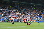 Sheffield Wednesday forward Lucas Joao (18) shoots and scores the equalising goal 2-2 during the EFL Sky Bet Championship match between Sheffield Wednesday and Sheffield Utd at Hillsborough, Sheffield, England on 24 September 2017. Photo by Phil Duncan.