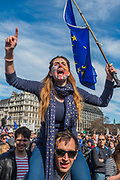 Arriving in Parliament Square - Unite for Europe march attended by thousands on the weekend before Theresa May triggers article 50. The march went from Park Lane via Whitehall and concluded with speeches in Parliament Square.