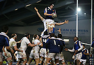 Fabien Sanconnie catches in the line out during the 2015 Under 20s 6 Nations match between England and France at the American Express Community Stadium, Brighton and Hove, England on 20 March 2015.