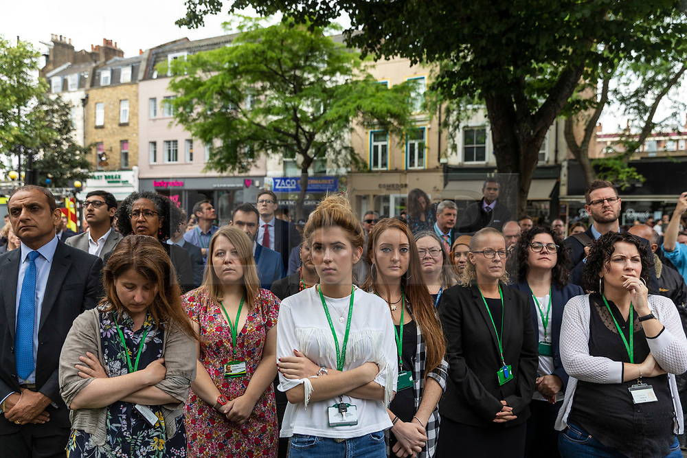 © Licensed to London News Pictures. 19/06/2018. London, UK.  Islington Council staff and members of the public join a minute's silence on the steps of Islington Town Hall to mark the first anniversary of the Finsbury Park Attack. Photo credit: Rob Pinney/LNP