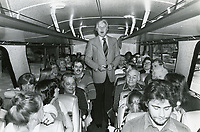 1978 John Raitt on a Greyhound bus on the way to the Brown Derby Restaurant on Vine St. in Hollywood