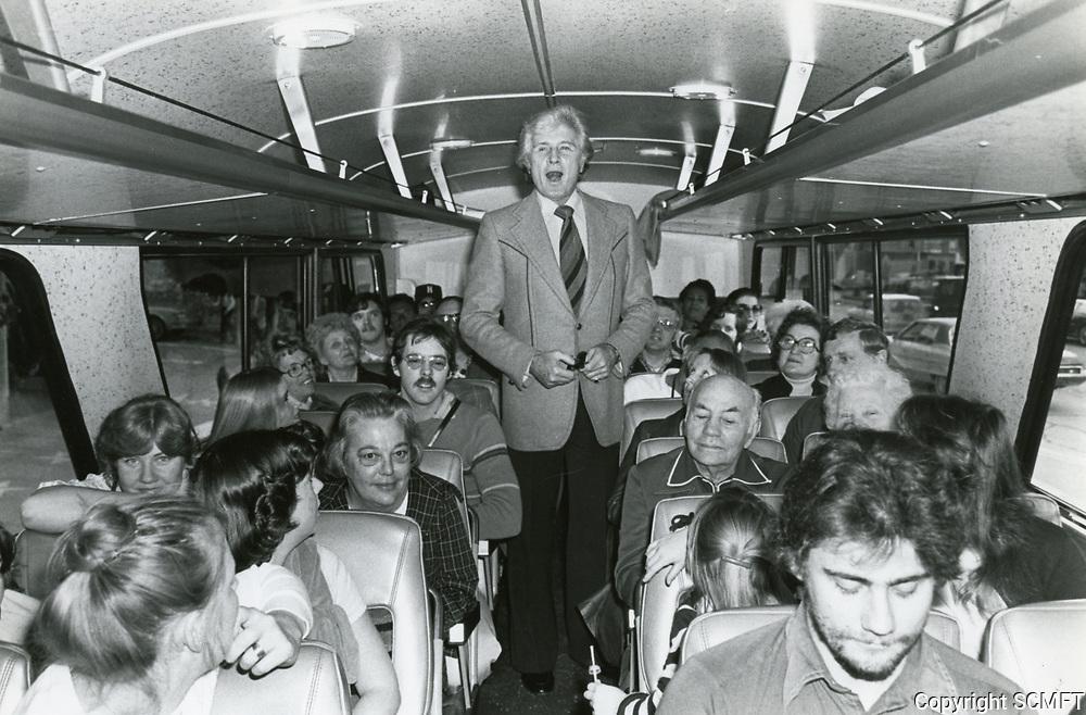 1978 John Raitt on a Greyhound bus on the way to the Brown Derby Restaurant on Vine St. in Hollywood