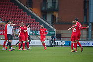 GOAL 1-0 as scorer Danny Johnson (39) of Leyton Orient celebrates his goal during the EFL Sky Bet League 2 match between Leyton Orient and Salford City at the Breyer Group Stadium, London, England on 2 January 2021.
