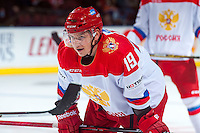 KELOWNA, CANADA - NOVEMBER 9: Radel Fazleev #19 of Team Russia faces off against the Team WHL on November 9, 2015 during game 1 of the Canada Russia Super Series at Prospera Place in Kelowna, British Columbia, Canada.  (Photo by Marissa Baecker/Western Hockey League)  *** Local Caption *** Radel Fazleev;
