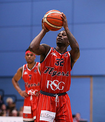 Jalan McCloud of Bristol Flyers with a free throw - Photo mandatory by-line: Arron Gent/JMP - 28/04/2019 - BASKETBALL - Surrey Sports Park - Guildford, England - Surrey Scorchers v Bristol Flyers - British Basketball League Championship