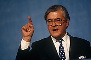 Home Secretary and Conservative MP, Kenneth Baker at the Conservative party conference on 11th October 1991 in Blackpool, England.