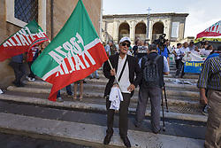 June 22, 2017 - Rome, Italy - Supporters of political party Forza Italia (Go, Italy!) take part in a rally to protest against Rome's Mayor Virginia Raggi. Several hundred people gathered in Capitol Hill Square to protest against Mayor of Rome Virginia Raggi and her policy after one year of the Five Star government. (Credit Image: © Giuseppe Ciccia/Pacific Press via ZUMA Wire)