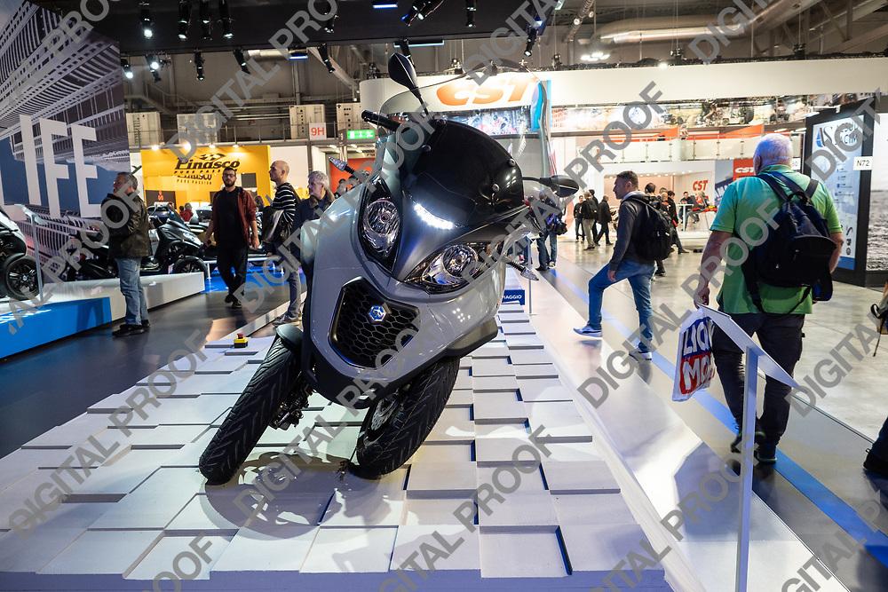 RHO Fieramilano, Milan Italy - November 07, 2019 EICMA Expo. Piaggio presents its model MP3 motorcycle at EICPA 2019