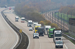 © Licensed to London News Pictures. 25/11/2020. Maidstone, UK. Freight lorries travelling to Europe could see more checks at the borders. Lorries today on the M20 heading for the Channel Tunnel freight terminal in Folkestone, Kent. When the Brexit transition period ends on December 31st 2020 new rules will apply to people travelling to and from Europe with some rules subject to ongoing UK an EU negotiations. Photo credit:Grant Falvey/LNP