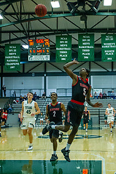BLOOMINGTON, IL - November 12: an awkward shot by Chanz Aldridge during a college basketball game between the IWU Titans  and the Blackburn Beavers on November 12 2019 at Shirk Center in Bloomington, IL. (Photo by Alan Look)
