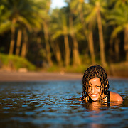A young girl enjoying on the beach in south Goa