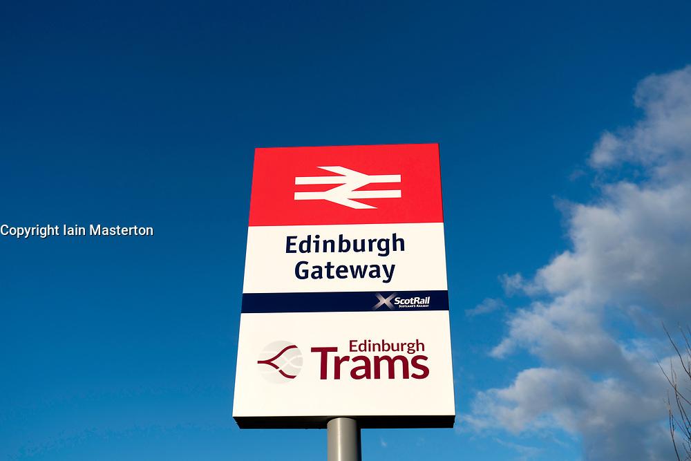 View sign at modern Edinburgh Gateway railway and tram station that connects Scotrail train passengers with the Edinburgh Tram link  in Edinburgh, Scotland, United Kingdom.