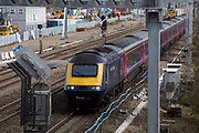 A First great western 125 High Speed Train travels along the train track between Didcot and London.   Didcot, United Kingdom.
