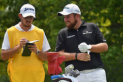 August 12, 2018 - St. Louis, Missouri, U.S. - ST. LOUIS, MO - AUGUST 12: Shane Lowry checks details on the #2 hole with his caddie during the final round of the PGA Championship on August 12, 2018, at Bellerive Country Club, St. Louis, MO.  (Photo by Keith Gillett/Icon Sportswire) (Credit Image: © Keith Gillett/Icon SMI via ZUMA Press)