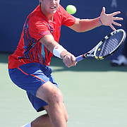 Jack Sock, USA, in action against Flavio Cipolla, Italy, during the US Open Tennis Tournament, Flushing, New York. USA. 30th August 2012. Photo Tim Clayton