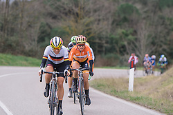 Trixi Worrack pushes the pace on the climb - 2016 Strade Bianche - Elite Women, a 121km road race from Siena to Piazza del Campo on March 5, 2016 in Tuscany, Italy.