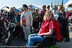 Skyler Keim-Jones of the MDA at the women's MDA Ride before leaving the Harley-Davidson display for Destination Daytona during Daytona Bike Week. FL, USA. March 11, 2014.  Photography ©2014 Michael Lichter.