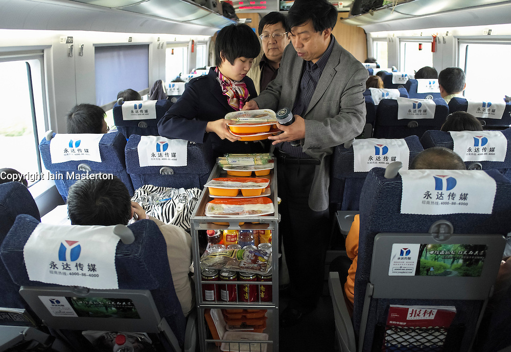 Food trolley service in economy carriage on new Beijing to Shanghai high-speed railway in China