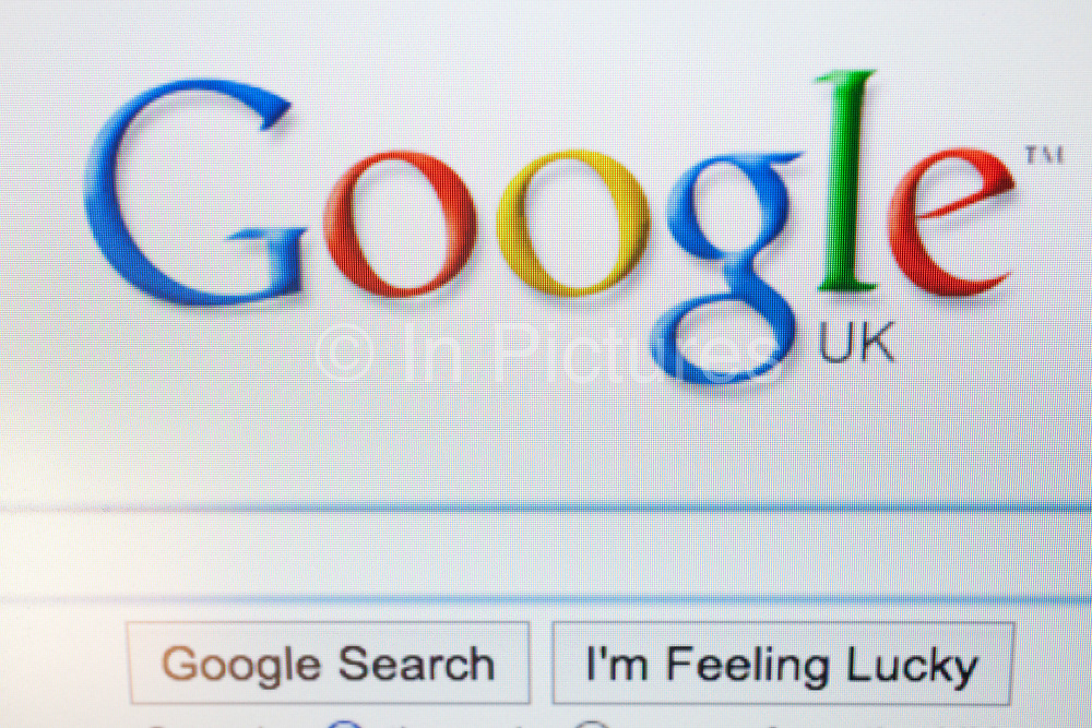 Computer screen showing the website for the Internet search engine Google.