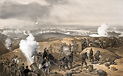 Crimean War 1853-1856: Siege of Sebastopol 1854-1855;  British artillery battery of mortars and cannon bombarding Russian-held Sebastopol. From 'Illustrations of the War in the East', 1856. Russia France Turkey Britain Ottoman