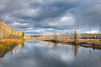Autumn along the North Fork of the Flathead River, Glacier national Park Montana USA