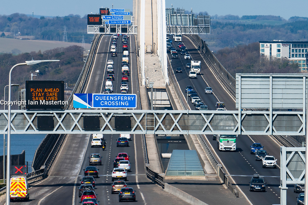 South Queensferry, Scotland, UK. 17 April 2021. Traffic congestion on the Queensferry Crossing Bridge as the public take to the roads to make the most of relaxed  Covid-19 travel restrictions on a sunny and warm Saturday afternoon. Iain Masterton/Alamy Live News