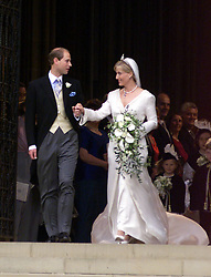 Prince Edward and Sophie Rhys Jones, the new Earl and Countess of Wessex on their wedding day in Windsor on June 19, 1999.