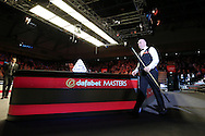 Stuart Bingham (Eng) walks towards the table for the start of the match. Stuart Bingham (Eng) v Joe Perry (Eng), 1st round match at the Dafabet Masters Snooker 2017, day 2 at Alexandra Palace in London on Monday 16th January 2017.<br /> pic by John Patrick Fletcher, Andrew Orchard sports photography.