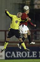 Fotball<br /> Manchester United v Aston Villa<br /> Reserves game at Altrincham.<br /> 05/02/2004.<br /> Ole Gunnar Solskjær wins a header<br /> <br /> Foto: Digitalsport