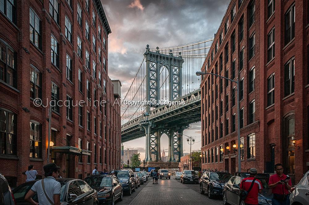 Manhattan Bridge at sunset New York City New York by Jacqueline C Agentis. Limited Edition 1 of 50